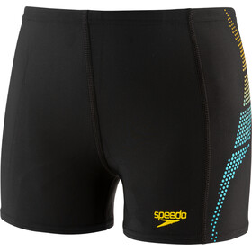 speedo Plastisol Placement Aquashorts Jongens, black/turquoise/empire yellow
